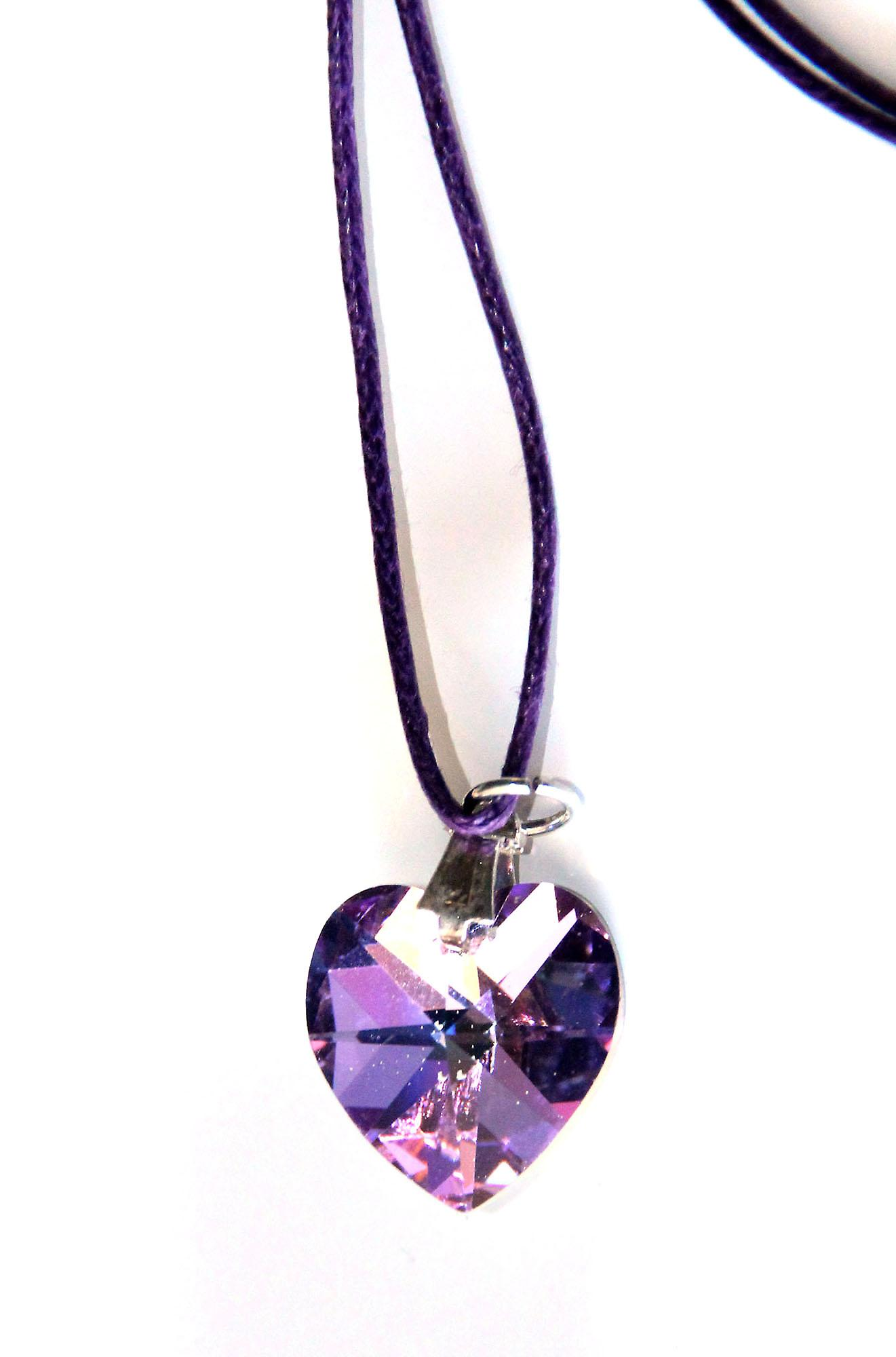 Waooh - Jewelry - Swarovski / Pendant heart with purple and blue center waxed cord