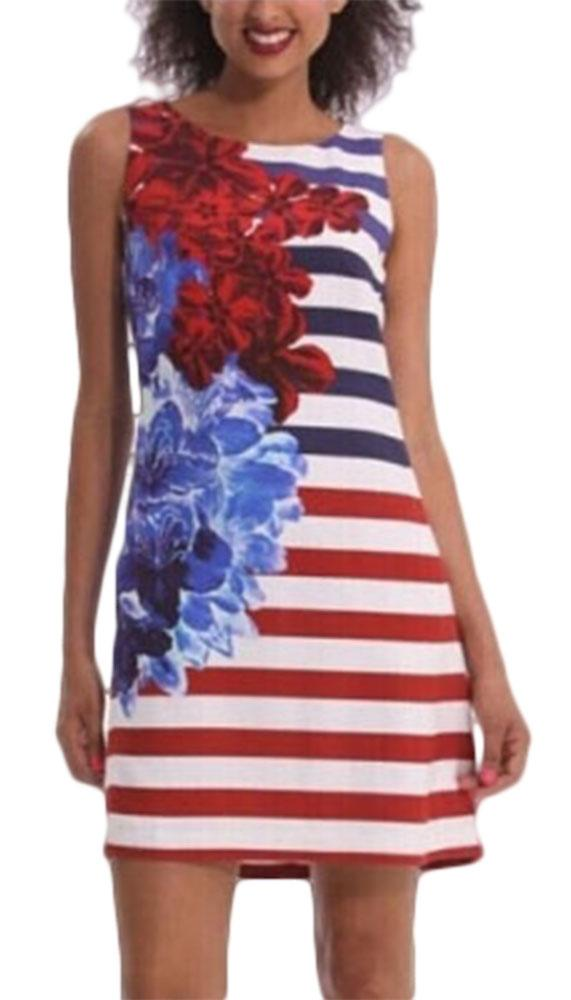 Waooh - Print Dress Cain flowers and stripes