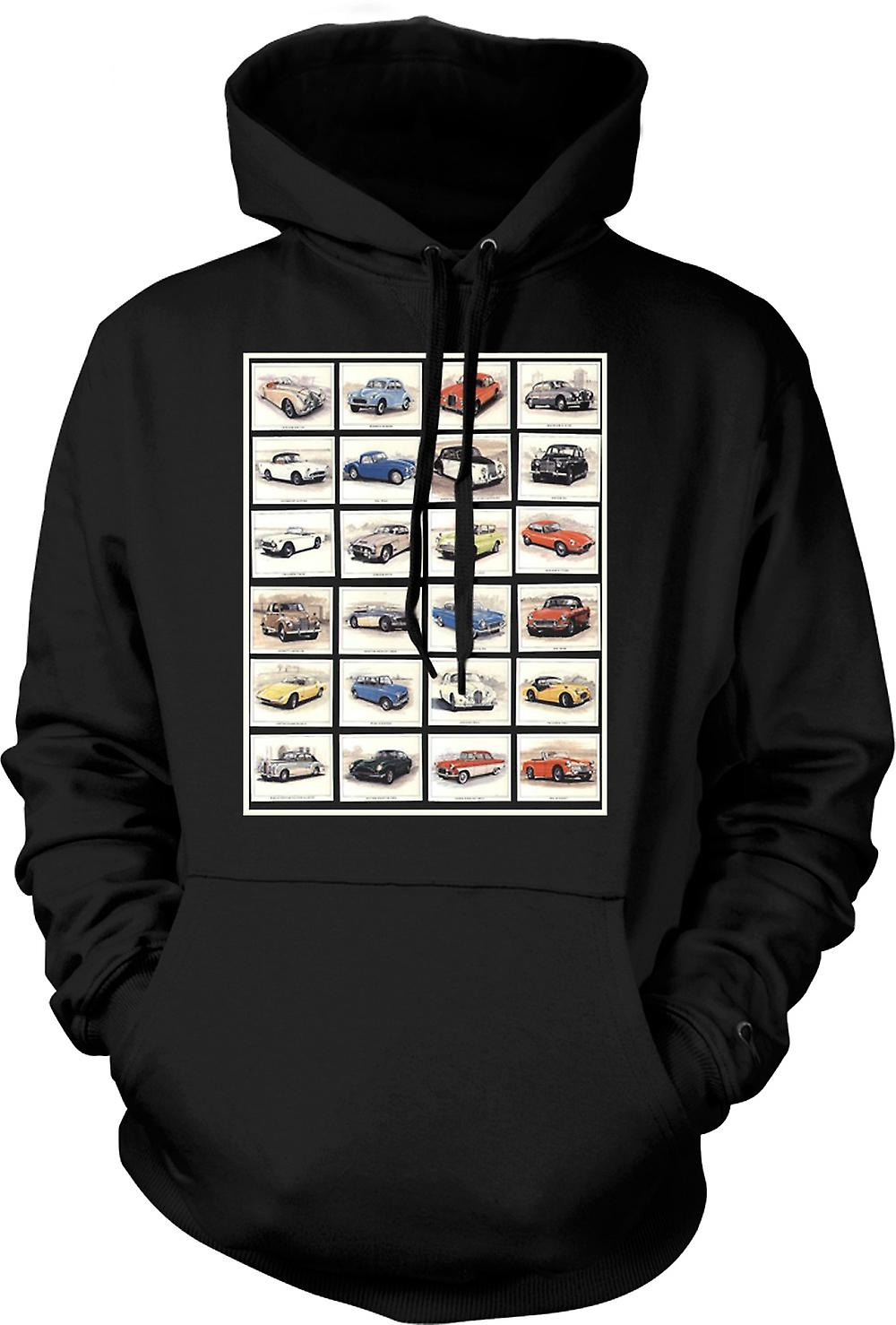 Mens Hoodie - Classic Motor Car Collage - Poster