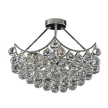 Searchlight 6555-5CC Sassari 5 Light Chrome & Crystal Semi-Flush Lamp