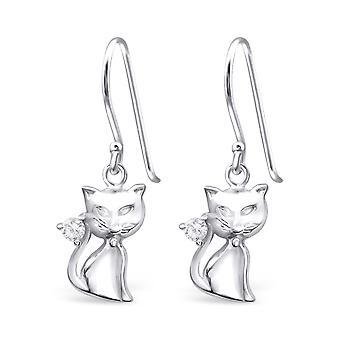 Katten - 925 Sterling sølv Cubic Zirconia øreringer - W18028X