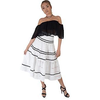 Lovemystyle White Cotton Full Midi Skirt With Black Stripes