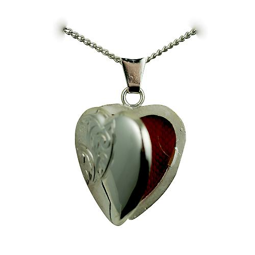 Silver 21x19mm hand engraved heart shaped Locket with a curb Chain 20 inches