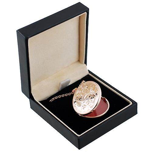 9ct Rose Gold 29mm engraved flat round Locket with belcher Chain 18 inches