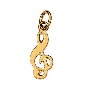 9ct Gold 18x8mm G Clef Charm