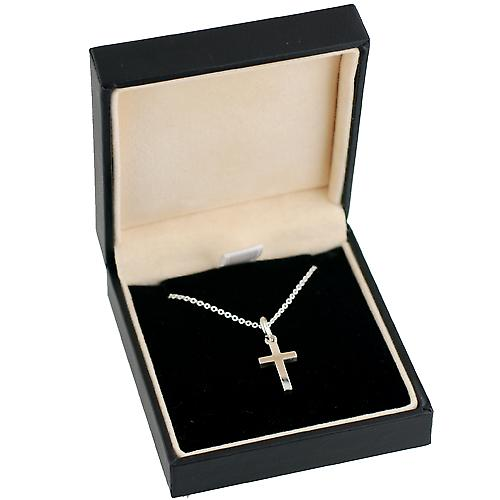 Silver 15x9mm Star cut block Cross with Rolo chain