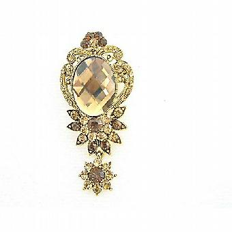 Golden Dangling with Sparkling Smoked Topaz Lite Colorado Brooch
