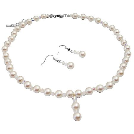 Ivory Pearl AB Crystals Necklace Sets Chines Crsystals At Affordable Inexpensive Bridal Bridemaids Jewelry Set Drop Down Prom Ivory Pearl Set