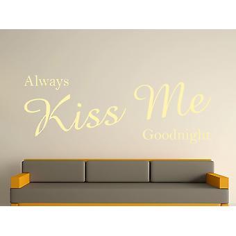 Always Kiss Me Goodnight Wall Art Sticker - Beige