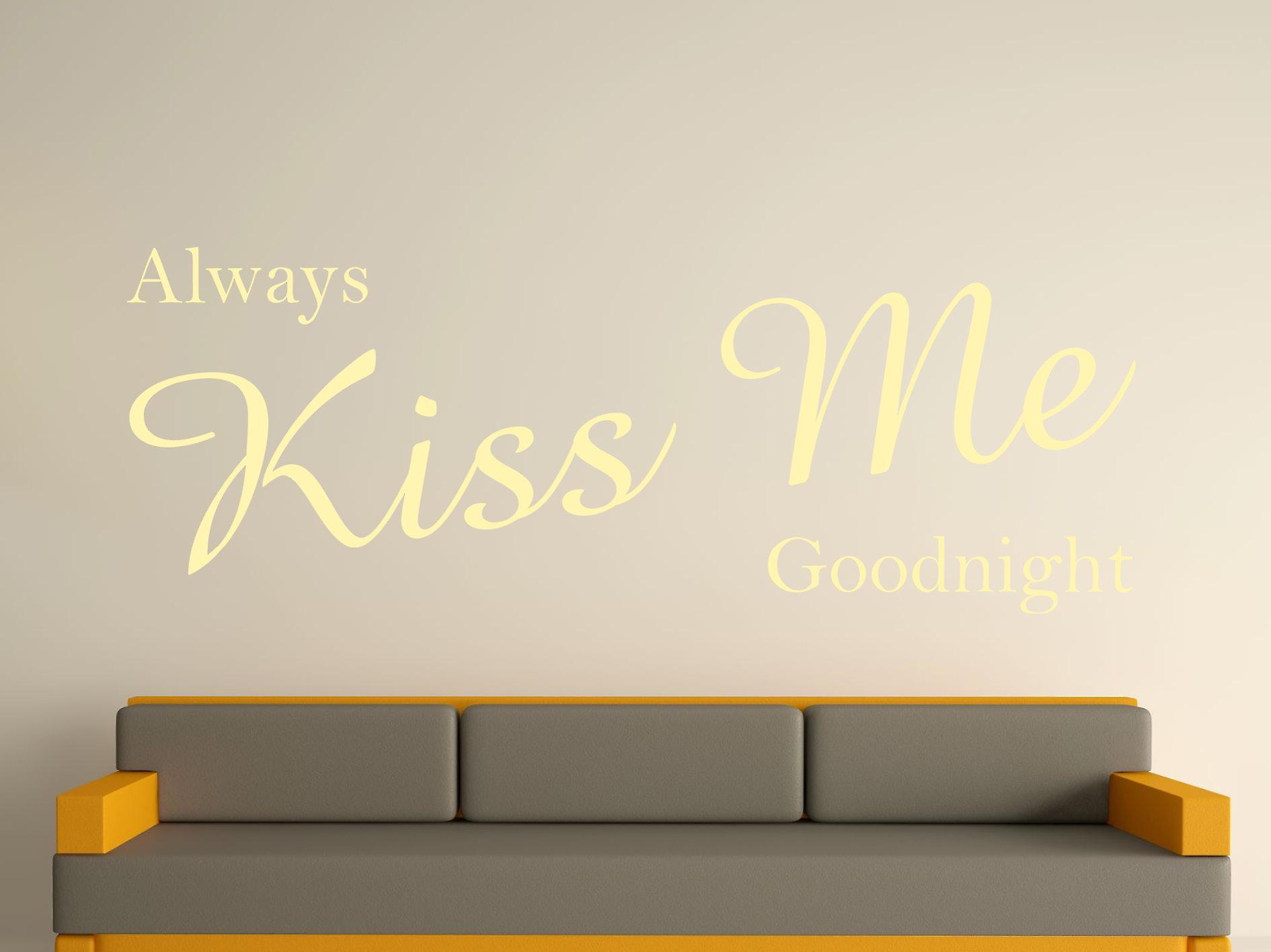 Always Kiss Me Goodnight Wall Art Sticker - Beige