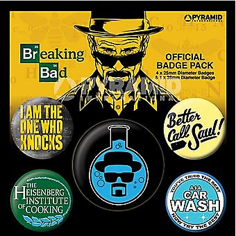 Breaking Bad Heisenburg 5 round Pin insignias en paquete (py)