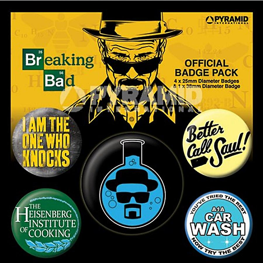 Breaking Bad Heisenburg 5 round Pin Badges in Pack (py)