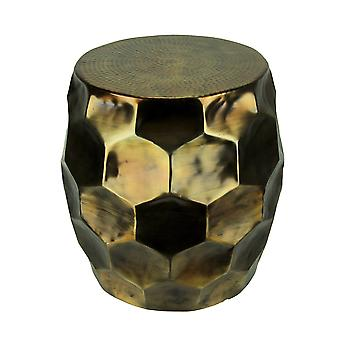 Vintage Gold Faceted Aluminum Indoor/Outdoor Accent Stool or Table