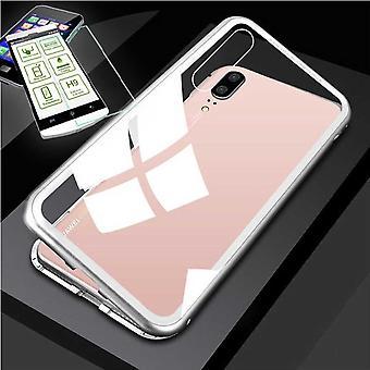 For Xiaomi MI 9 360 grader magnetisk, metall / glass pose case sølv / gjennomsiktig + 0,26 mm H9 vanskelig glass