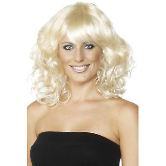 Foxy wig medium long 70s wig blonde
