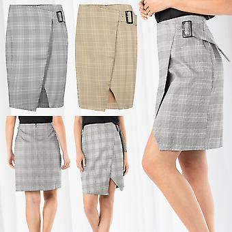 Gonna da donna plaid ginocchio lunghezza MIDI matita gonna stretch Glencheck pattern