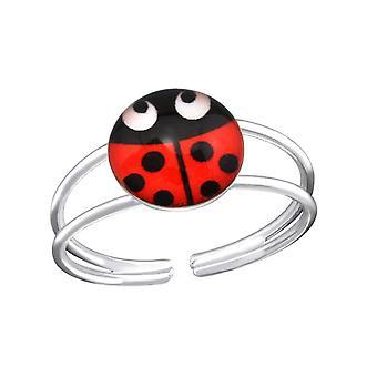 Children's Sterling Silver Ladybug Adjustable Ring