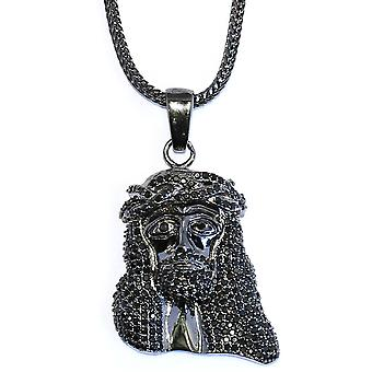 Black 1.5 inch CZ Mini Jesus Piece with 32 inch Franco Chain