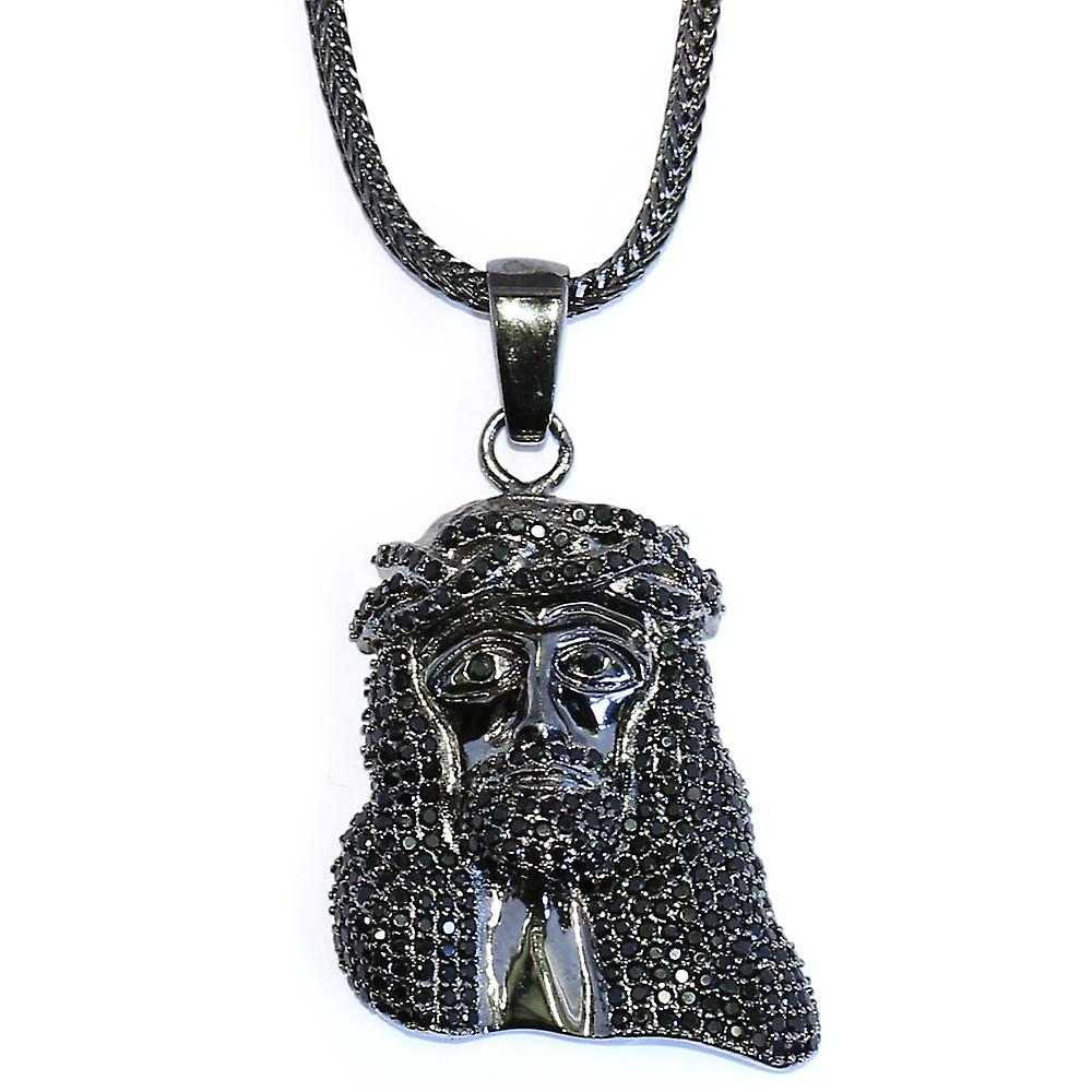 Black Mini Jesus Piece CZ Pendant 1.5 inch with 32 inch Franco Chain