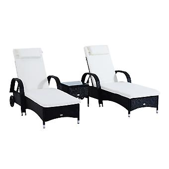 Outsunny Wicker Recliner Bed Chair Set Rattan Lounger Side Table Thick Padded Cushion Wheels Garden Black