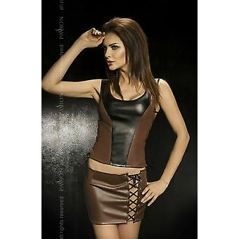 Passion Lingerie Martha Faux Leather Brown Top-Skirt-Thong