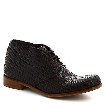 Leonardo Shoes Bottes de veau tissées brun foncé pour hommes Leonardo Shoes Men
