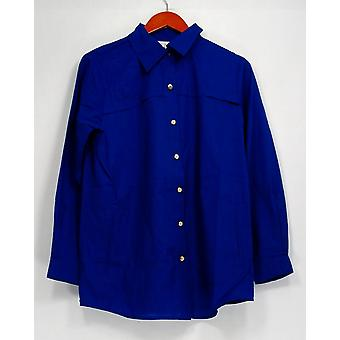 Joan Rivers Classics Collection Top Military Style Boyfriend Blue A268571