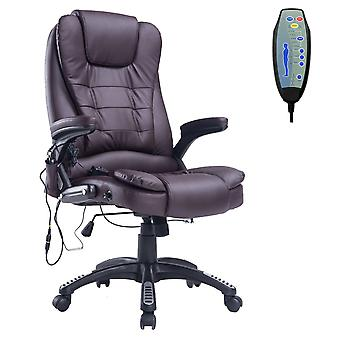 HOMCOM Deluxe Reclining Faux Leather Office Computer Chair 6-Point Massage Recliner High Back Desk Work Swivel Chair Brown