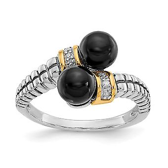 925 Sterling Silver With 14k Black Simulated Onyx and Diamond Ring - Ring Size: 6 to 8
