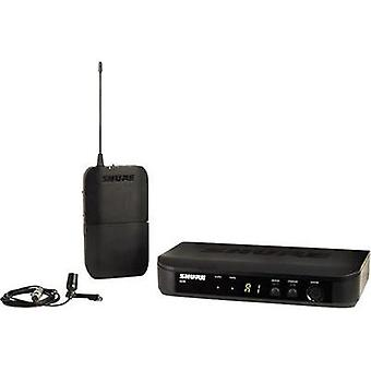 Clip Wireless microphone set Shure BLX14E/CVL-T11 Transfer type:Radio incl. pop filter