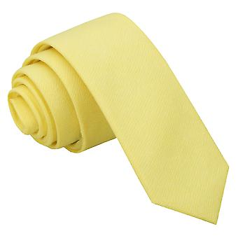 Light Yellow Chambray Cotton Skinny Tie