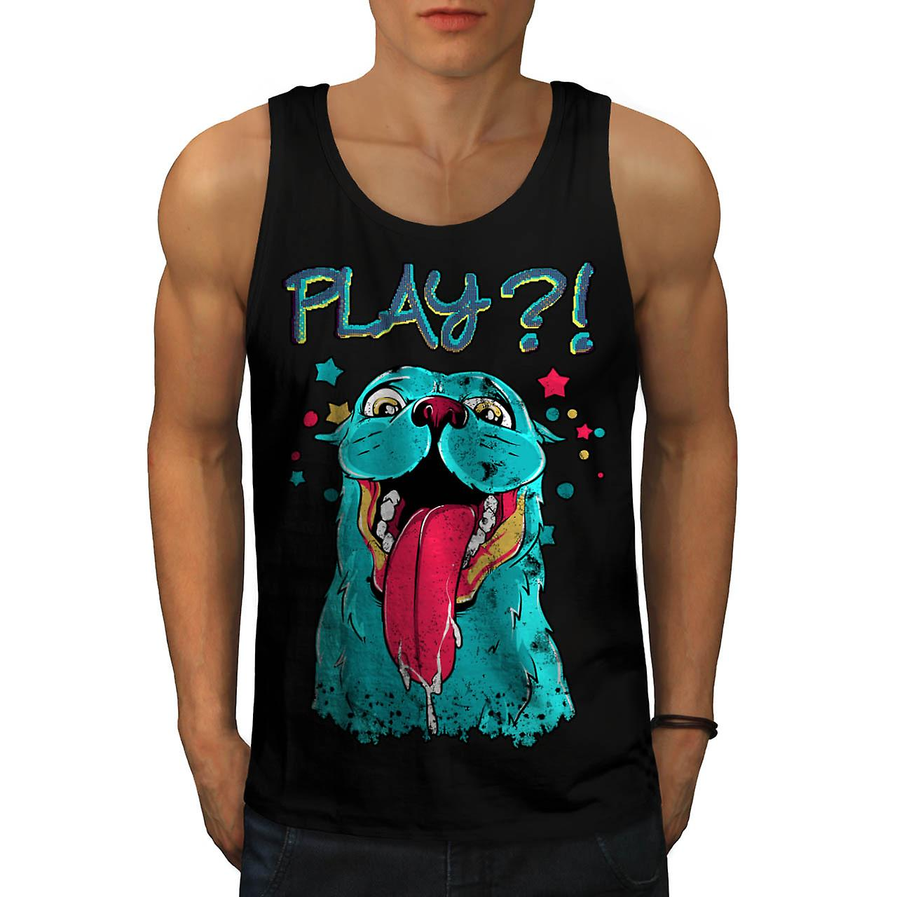 Play Cute Beast Animal Men Black Tank Top | Wellcoda