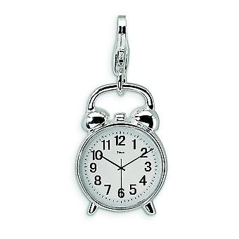 Sterling Silver Solid Enamel Polished Rhodium-plated Fancy Lobster Closure 3-D Alarm Clock With Lobster Clasp Charm - Me