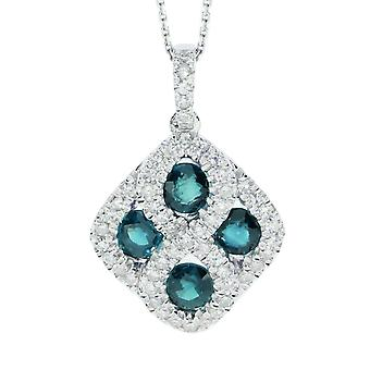 14k White Gold Emerald and .26 ct Diamond Pendant with 18