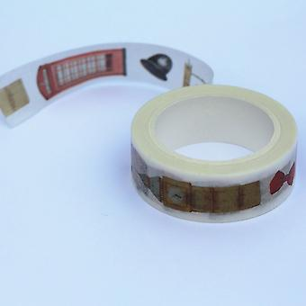 London Themed Decorative Washi Tape Red Bus Big Ben Flag 8m x 1.5cm Craft