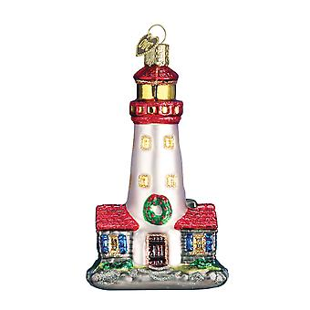 Decked Out for Holidays Christmas Lighthouse Glass Ornament Old World