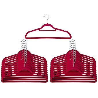 20 Pink Non Slip Velvet Hangers With Tie Belt Scarf Holder - Ultra slim design