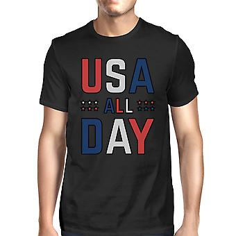 USA All Day Mens Black Cotton Crewneck T-Shirt For Independence Day