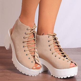 Shoe Closet Platform Sandals - Ladies D35 Nude Faux Suede Lace Ups Cleated Platforms Strappy Sandals