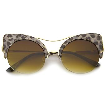 Women's Half-frame High Pointed Flat Lens Round Cat Eye Sunglasses 51mm