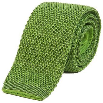 40 Colori Double Threaded Wool and Cotton Knitted Tie - Green/Hunter Green