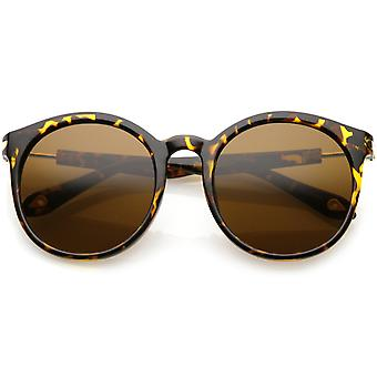Classic Horn Rimmed Round Sunglasses Metal Arm Detail Neutral Colored Lens 53mm