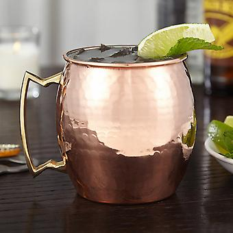 Modern Home Authentic 100% Solid Copper Hammered Moscow Mule Mug - Nickel Lined