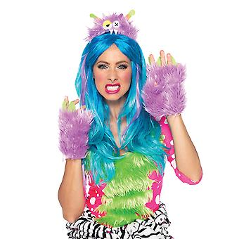 Hairy Herbert Furry Purple Monster Women Costume Kit Headpiece and Gloves