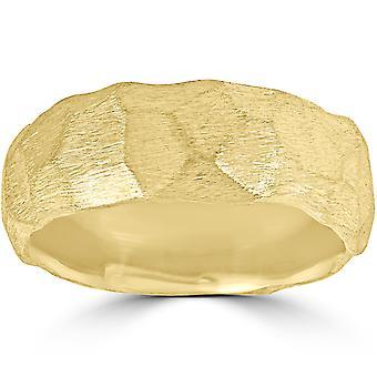 Designer 14k gult gull hamret Nugget bryllup Band