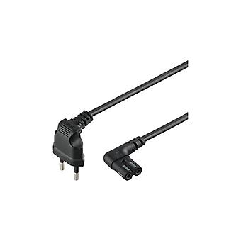 Qnect Mains cable 2-pin Euro to C7 Sonos angled 1 m black