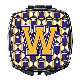 Letter W Football Purple and Gold Compact Mirror