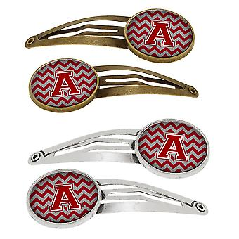 Letter Chevron Maroon and White Set of 4 Barrettes Hair Clips CJ1049