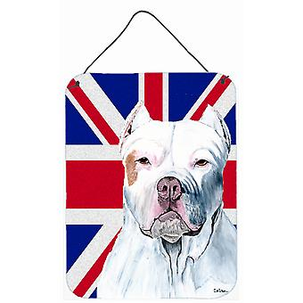 Pit Bull with English Union Jack British Flag Wall or Door Hanging Prints