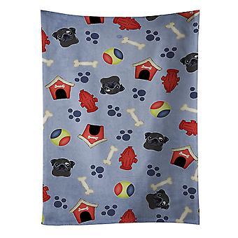 Carolines Schätze BB4042KTWL Hund House Collection schwarz Mops Küchentuch